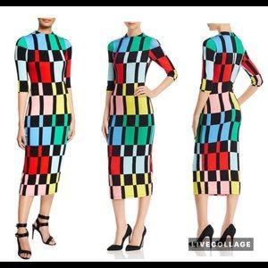 Alice + Olivia Delora colorblock Midi Dress